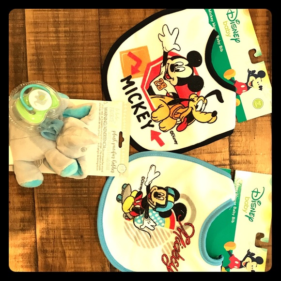 Disney Other - 2 Disney Mickey bibs & elephant pacifier - NEW